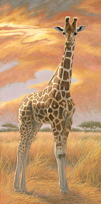 Sunset Painting - Mother Giraffe by Lucie Bilodeau