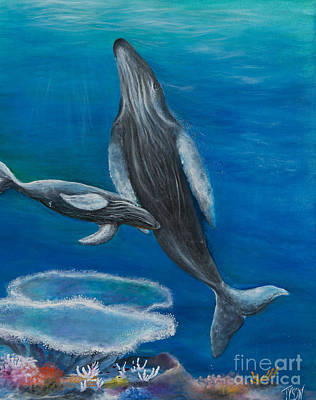 Mother Humpback And Her Calf Print by John Garland  Tyson