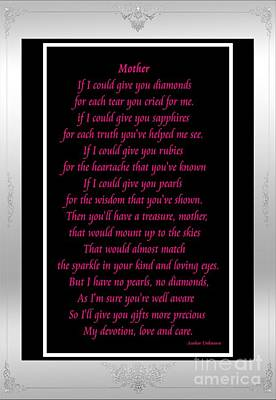 Mother If I Could Give You Art Print by Barbara Griffin