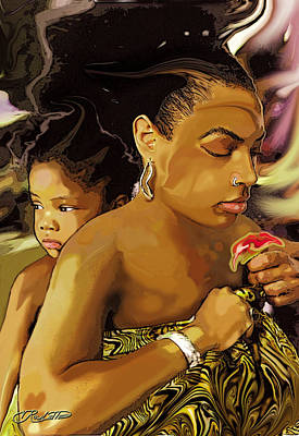 Afro Mixed Media - Mother Life by Vernon Rowlette