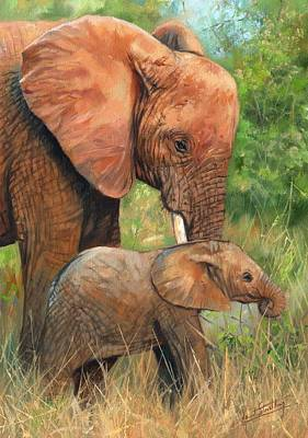 Animals Paintings - Mother Love 2 by David Stribbling