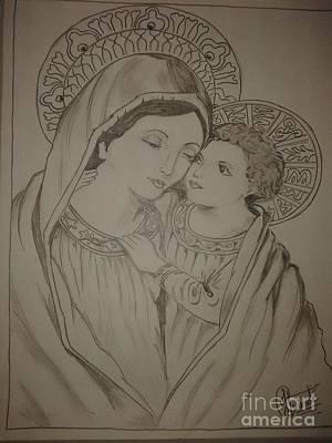 mother Mary and son Jesus Original by Jigna Trivedi