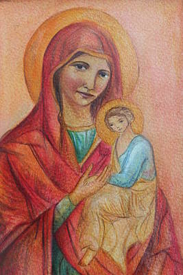 Mother Mary With Christ Art Print by Vera Atlantia