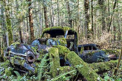 Rusty Cars Photograph - Mother Nature Rules Supreme by Peggy Collins