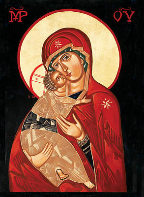 Greek Icon Painting - Mother Of Tenderness by Joseph Malham