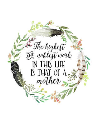 Wreath Painting - Mother Quote Wreath by Tara Moss