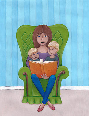 Children Book Painting - Mother Reading by Christy Beckwith