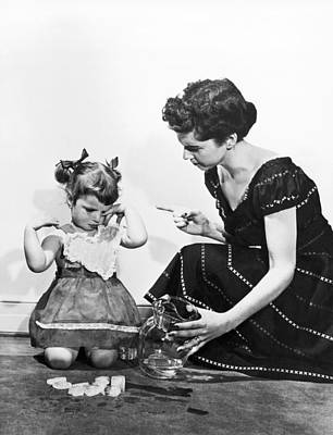 Water Pitcher Photograph - Mother Scolding Tearful Child by Underwood Archives
