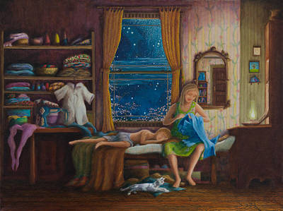 Painting - Mother Sewed My First Blue Jeans by Matt Konar