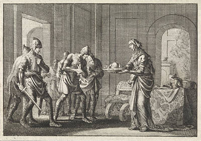 Cannibalism Drawing - Mother Shows Warriors The Remains Of Her Child by Jan Luyken And Pieter Mortier