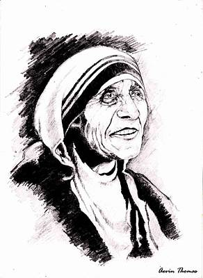Mother Teresa Drawing By Aevin Thomas