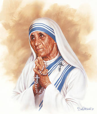 Teresa Painting - Mother Teresa by Dick Bobnick