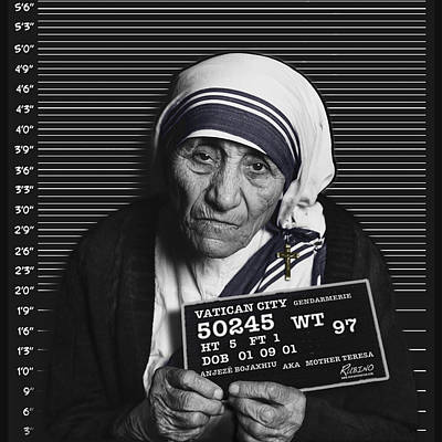 Mother Teresa Mug Shot Art Print by Tony Rubino