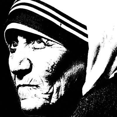 Rosary Digital Art - Mother Teresa by Penny Ovenden