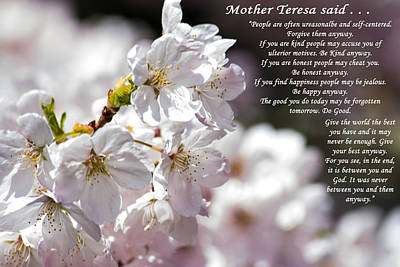 Mother Teresa Said Art Print by Tikvah's Hope