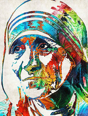 Mother Teresa Tribute By Sharon Cummings Art Print by Sharon Cummings