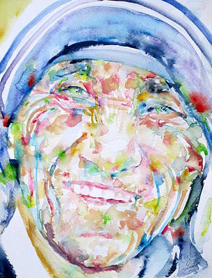 Nobel Peace Prize Painting - Mother Teresa - Watercolor Portrait by Fabrizio Cassetta