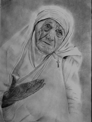 Drawing - Mother Theresa 2 by Derrick Parsons