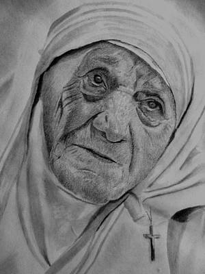 Drawing - Mother Theresa-close Up by Derrick Parsons