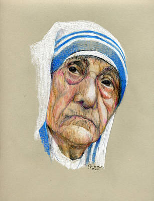 Mother Theresa Painting - Mother Theresa by Larry Peterson