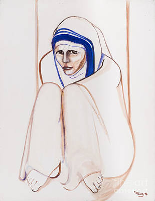 Painting - Mother Theresa Sitting by May Ling Yong