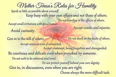Mother Theresa's Rules For Humility Art Print by Jocelyn Friis