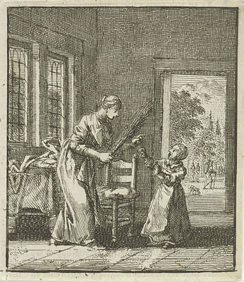 Mother Threatens To Punish Her Child With Rod Blows Art Print by Jan Luyken And Wed. Pieter Arentsz (ii) And Cornelis Van Der Sys
