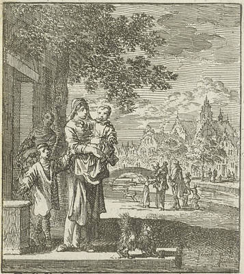 Hip Drawing - Mother With Child On The Sidewalk In Front Of Her House by Jan Luyken And Wed. Pieter Arentsz (ii) And Cornelis Van Der Sys