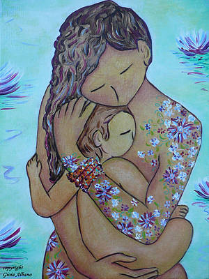 Motherhood Flowers All Over Art Print by Gioia Albano