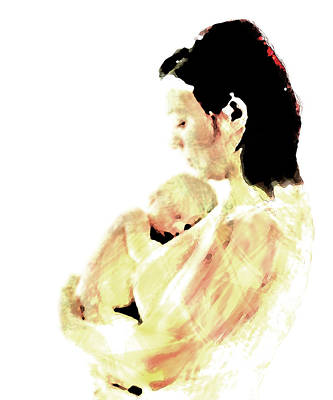 Breastfeeding Mixed Media - Motherhood by Lisa McKinney