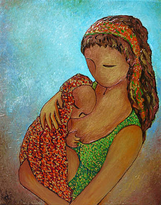 Breastfeeding Painting - Motherhood Painting Just Close To You Original By Gioia Albano by Gioia Albano