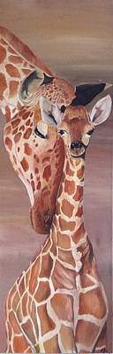 Mother And Baby Giraffe Painting - Motherly Love by JulieB