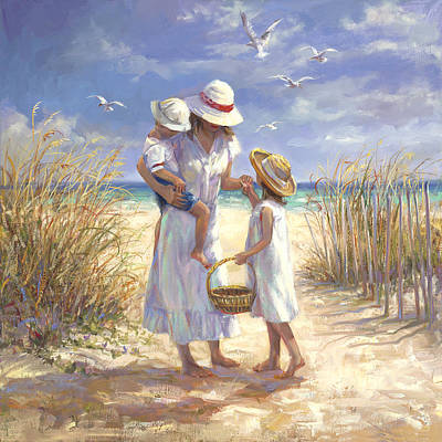 Seagull Painting - Mothers Day Beach by Laurie Hein