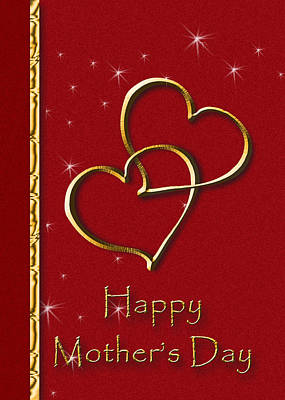 Digital Art - Mother's Day Gold Hearts by Jeanette K