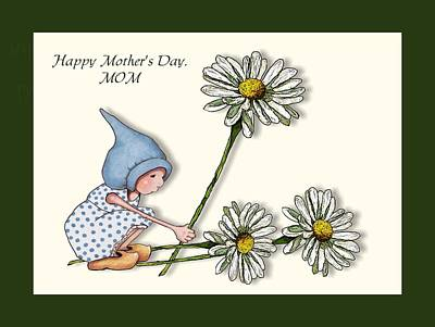 Mixed Media - Mother's Day With Gnome And Daisies by Joyce Geleynse