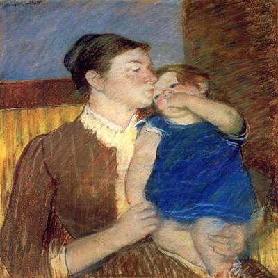 Painting - Mothers Goodnight Kiss 1888 by Florene Welebny
