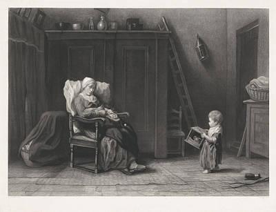 Teapot Drawing - Mothers Help, Dirk Jurriaan Sluyter by Dirk Jurriaan Sluyter
