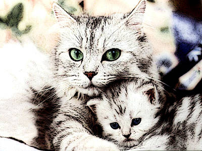 Cat Photograph - Mother's Love by VRL Art