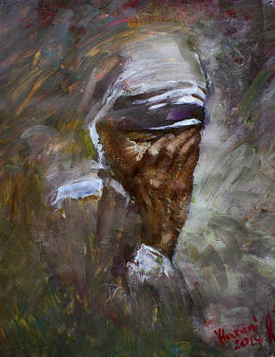 Oil Paining Painting - Mother's Pain by Ylli Haruni