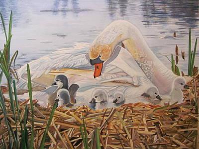 Goslings Painting - Mothers Pride by Karen Park