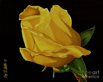 Drawing - Mother's Yellow Rose by Cory Still