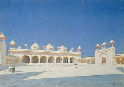 White Marble Painting - Moti Masjid, Agra by Vasili Vasilievich Vereshchagin