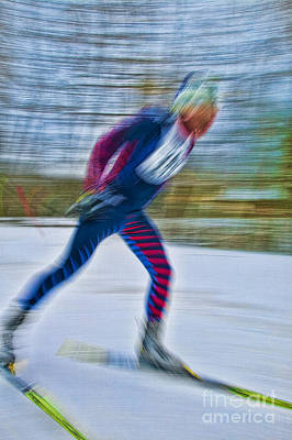 Photograph - Motion Blurred Cross Country Skier. by Don Landwehrle