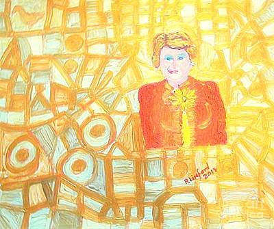 Painting - Motivation Speaker Gold Abstract Mtl 1 by Richard W Linford