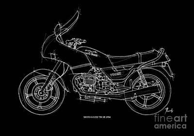 Hombre Drawing - Moto Guzzi 750sp 1994 by Pablo Franchi
