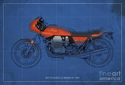 Moto Guzzi Le Mans IIi 1981 Vintage Style Print by Pablo Franchi