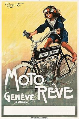 Painting - Moto Reve - 1913 by Roberto Prusso