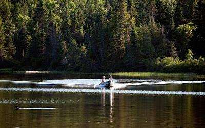 Motor Boat On The Lake Art Print by Marek Poplawski
