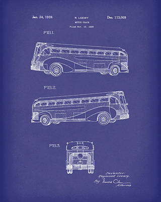 Drawing - Motor Coach 1939 Patent Art Blue by Prior Art Design