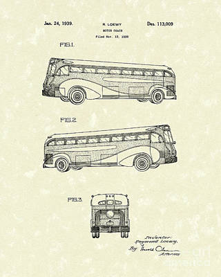 Drawing - Motor Coach 1939 Patent Art by Prior Art Design